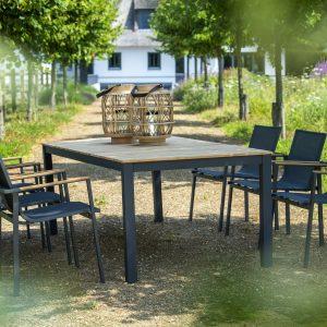 Arashi dining table, 220x100 - dark grey + stackable Mizu dining chairs, carbon | Yoi Oisterwijk