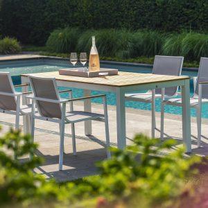 Arashi dining table, 169x90 - white + stackable Mizu dining chairs, white | Yoi Oisterwijk