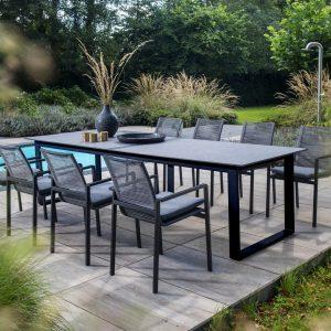 Teeburu table, 300x100, black / concrete + Ishi stackable dining chairs, black / dark grey | Yoi Oisterwijk