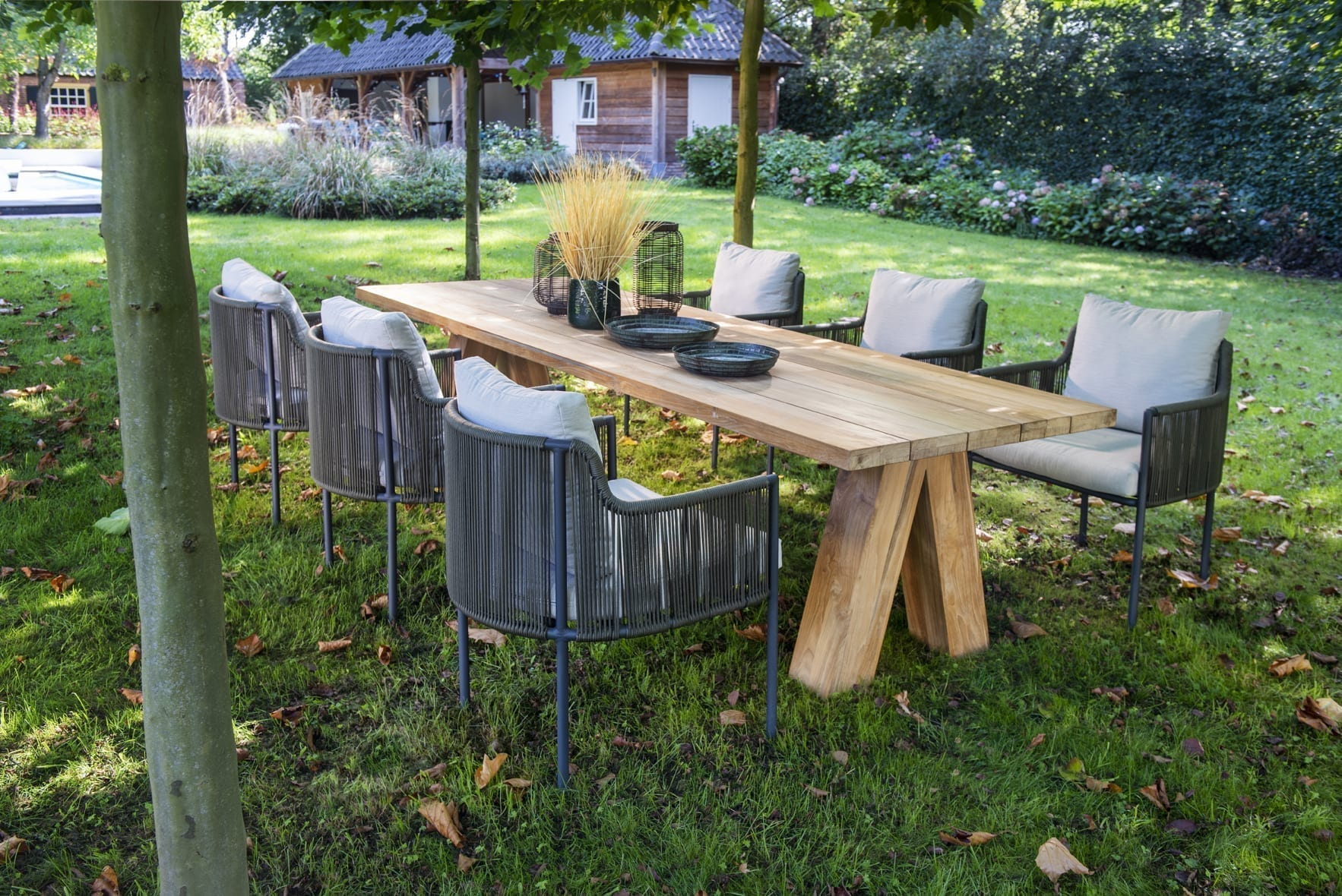 Umi dining chairs, dark grey / green + Haru table, 300x100 | Yoi Oisterwijk