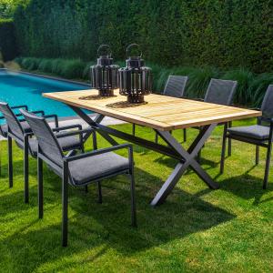 Wakai dining table, 236x100, black + Ishi stackable dining chair, dark grey | Yoi Oisterwijk